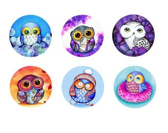 12mm, 6 cabochons theme: OWL