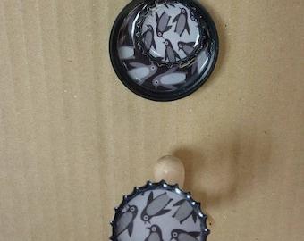 Set pendant and ring stopper, Bottlecap, Penguin pattern