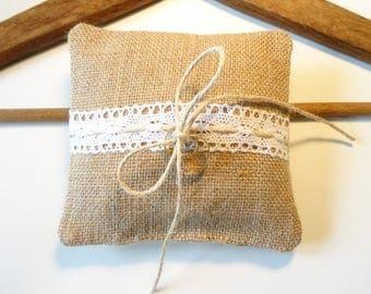 burlap ring bearer pillow, lace and hemp for rustic wedding