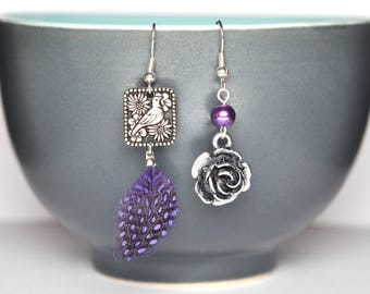 Asymmetrical earrings Nightingale and the rose