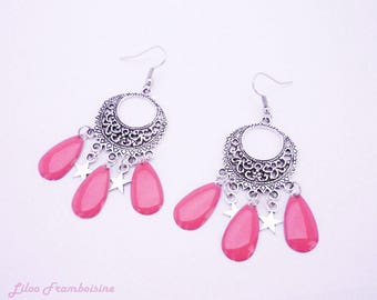 Dangle drop earrings coral pink and Star