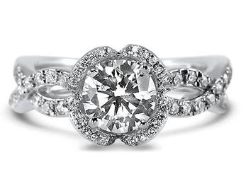 Blossom Halo Interwoven Moissanite Ring