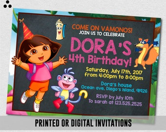 Dora The Explorer Invitation, Dora The Explorer Invite, Dora Invitation, Dora Invite, Chalkboard, Boots, Physical Invite, Digital, 3DS-023