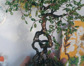Bonsai tree handmade  Beaded wood