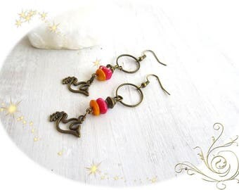 shipping... earrings pink and orange and Dove