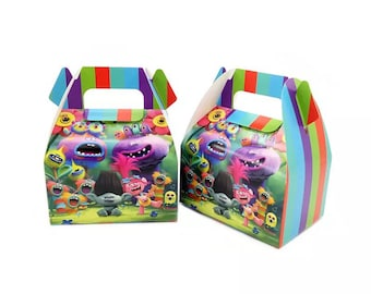 6x Trolls Lolly Loot Party Lunch Box Bag. Party Supplies Banner Bunting Flag Deco Favour