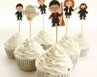 12x Harry Potter Food Cupcake Cake Topper Pick. Party Supplies Bunting Lolly Loot Bags Favour Book Magic