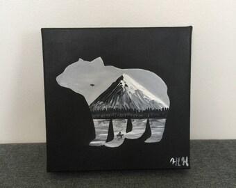 Bear silhouette painting