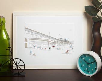 Dorset Artwork Print - Bournemouth Pier Line Art View 4 - by Jo Parry