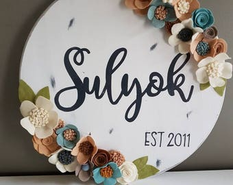 Family sign, shabby chic, family name, last name sign, wedding, home, wedding gift