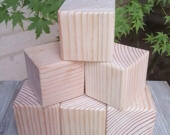 3.5 inch Unfinished Solid Wood Blocks Set of 6