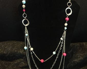 Long Silver Necklace Set
