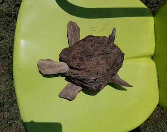 Handmade driftwood turtle