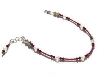 Garnet Opal Crystal Beaded Ankle Bracelet 8.5