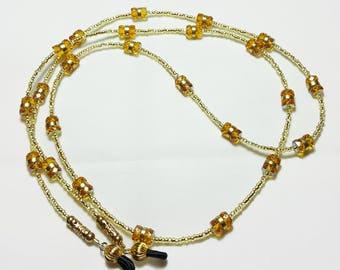 Golden Topaz Crystal GF Beaded Eyeglass Chain