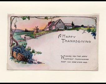 Happiest Ever Thanksgiving Vintage Greeting Card