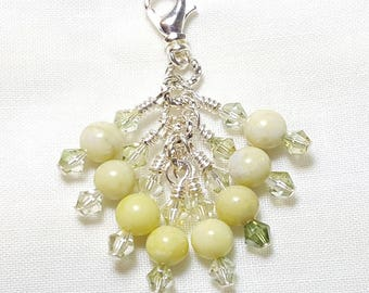 Creamy Green Serpentine Gemstone Crystal Zipper Pull Pendant
