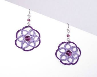 Purple and Lavender Rose lace earrings