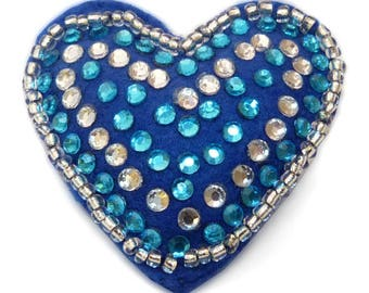 heart felt rhinestone brooch and rock beads blue and white rhinestones
