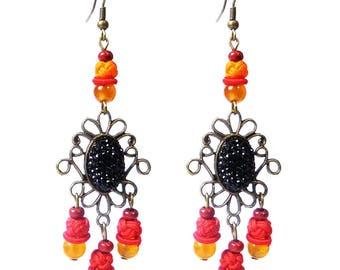 Women earrings dangling bronze wood ethnic long cords black and red orange stone