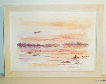 "Painting - Watercolor ""The pond at dusk"" original unique artwork signed by the artist."