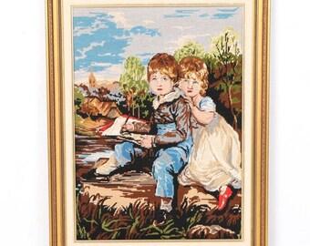 Vintage Framed Needlepoint of Children
