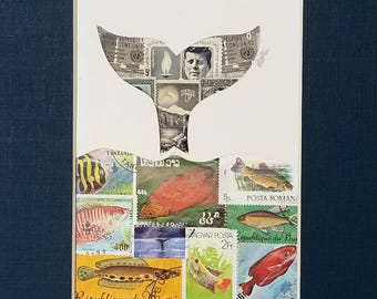 Postage Stamp Collage - Whale Tail (navy)
