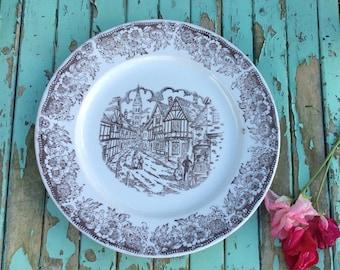 Broadhurst Vintage Luncheon Plate Tudor Village Ironstone Staffordshire Shabby Chic