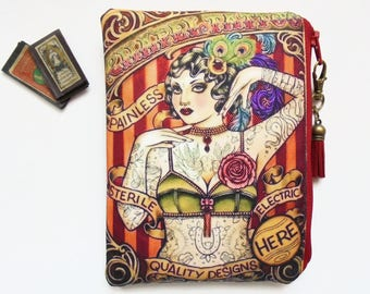 Mum gifts, Tattooed woman, Retro tattoo, sewing pouch, zipper wallet, cometic bag.