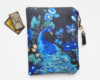 Mum gifts, Peacock print, sewing pouch, zipper wallet, cometic bag, zipper wallet, small storage bag.