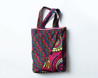 tote bag in wax * recto-verso * pink *.