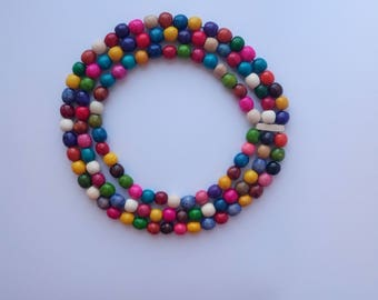 Three strand multicolor beaded necklace | Colorful necklace | Beaded Necklace | Wooden necklace | Hahdmade necklace