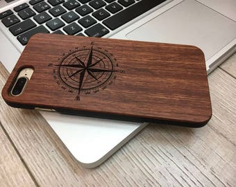 Compass Case Iphone 7 Plus, Wood, laser engraved, Gift,