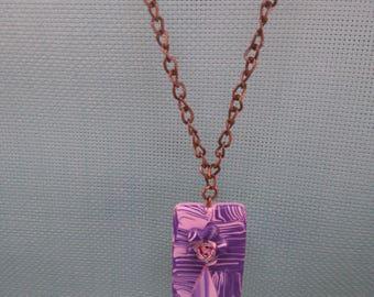 Pink & purple polymer pendant §58§