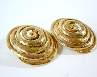 Jean-Louis Scherrer Massive Vintage Clip On Gold Gilt Couture Earrings