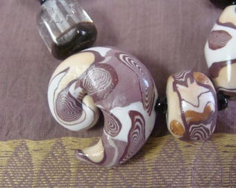 """Necklace """"crazy"""" theme large sea snail polymer and glass beads"""