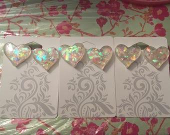 Iridescent Stud Heart Earrings!