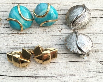 Vintage Clip on Earrings Lot of 3 Pairs