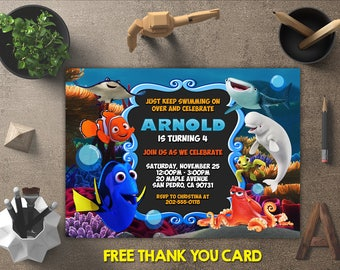 Finding Dory Birthday Invitation, Finding Dory Invitations, Finding Dory Invites, Finding Dory Party Printables, FREE 4x6 Thank You Card