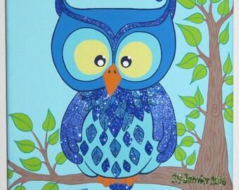 "acrylic painting ""my little OWL"" customizable"