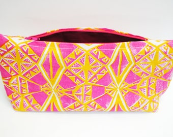 SALE - Screen printed bag in yellow and pink