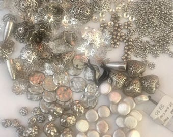 GRAB BAG of Silver toned & plated Findings