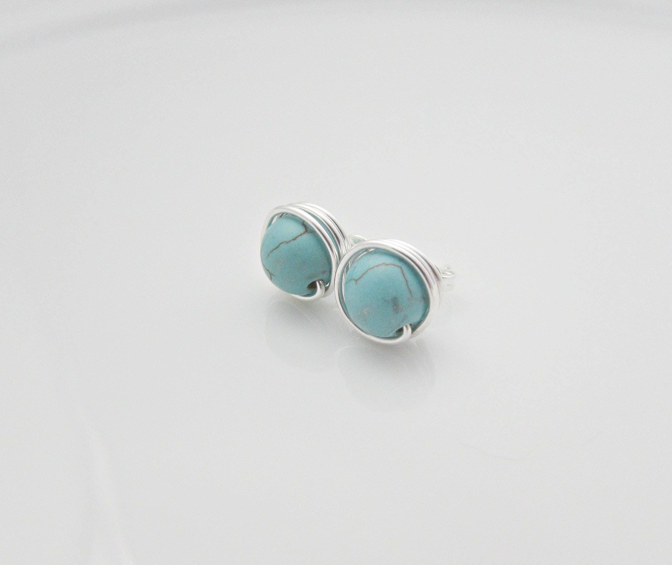 silver your choose turquoise small earrings stud pin pair