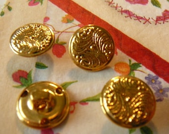 4 round buttons set Golden embossed pattern. 15 mm.