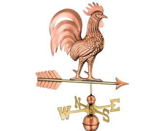 Proud Rooster Weathervane with Roof Mount - Pure Copper