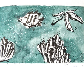UNDERWATER Illustration with watercolor and Ink