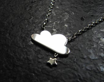 """""""Cloud and little star"""" necklace on silver chain"""