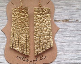 Gold Leather Tassel Earrings, Leather Earrings, Leather Fringe Earrings, Statement Earrings, Boho
