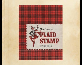 Antique MacDonald Plaid Stamp Saver Book, Redemption Stamps Booklet, Vintage Ephemera, Advertising, Scrapbooking, Collage, Crafts