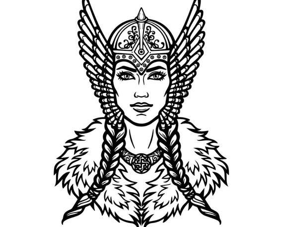 valkyrie ancient armor head warrior viking goddess vector